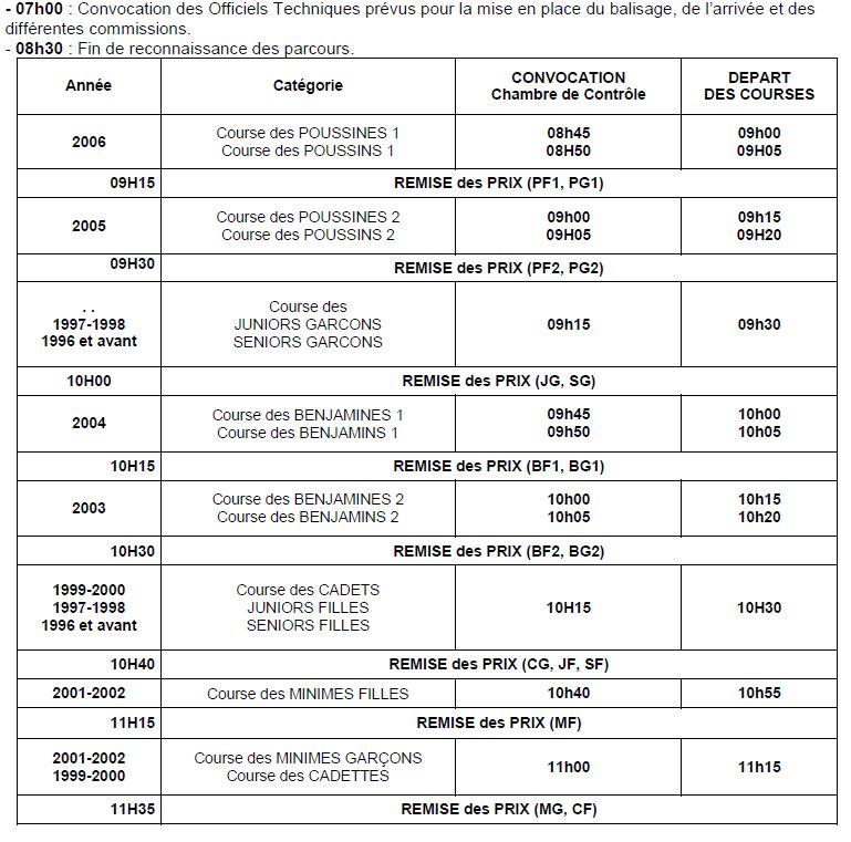 CROSS CSSU - Programme horaires